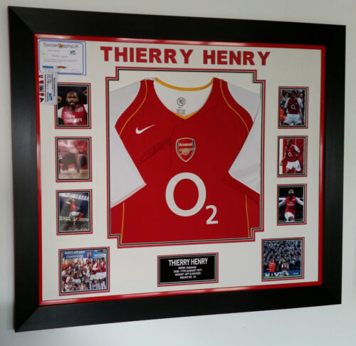 Rare Thierry Henry of Arsenal Signed Shirt Luxury Legend Display