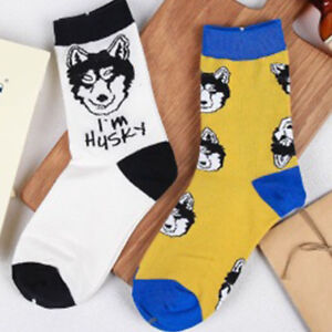 Women Men Socks Embroidery Husky Dog Printing Winter Spring Warm Cotton Casual