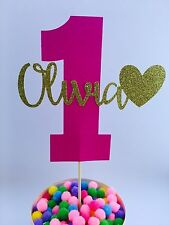 Personalised Number One Cake Topper Custom Name Pink And Gold 1st Birthday Girls