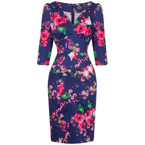 Hearts-amp-Roses-London-Navy-Pink-Rose-Floral-Fitted-1950s-Pencil-Wiggle-Dress