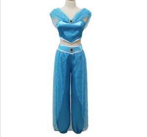 buy popular 2477f bebc4 Dettagli su Costume Jasmine Aladdin carnevale adulti donna vestito azzurro  principessa blu