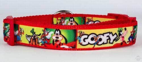 "Goofy dog collar handmade adjustable buckle collar 1/"" wide leash fabric Disney"