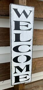 """Rustic wood sign WELCOME door vertical porch country farmhouse Wooden 12/"""""""