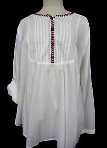 GAP-White-Embroidered-Peasant-Blouse-Hi-Low-Pintucked-Front-Handkerchief-Wt-XL