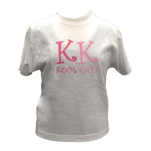 AGE 8-10 White Pink Girls Cats Summer Kool Katz Girls Dancer T-Shirt Top