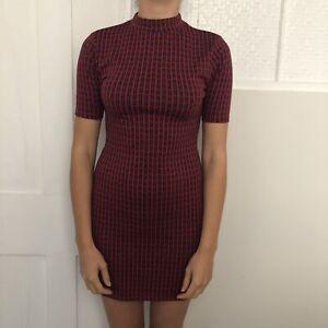Topshop-Women-Dress-Size-10-Red-Blue-High-Neck-Short-Sleeve-Knee-Length