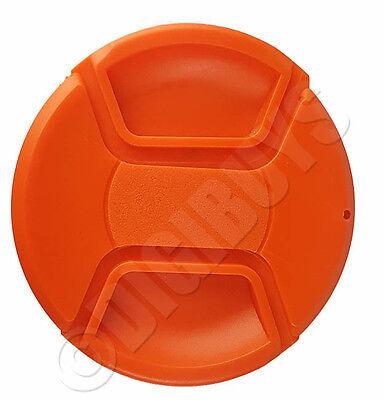 55mm Red/Orange Colour Center Pinch Snap-On Lens Cap Nikon Canon EF Sony Thread