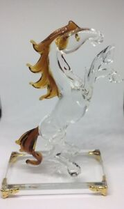 Clear-Crystal-Glass-Horse-Statue-Standing-Figure-New-Gift-Box-Christmas-Present
