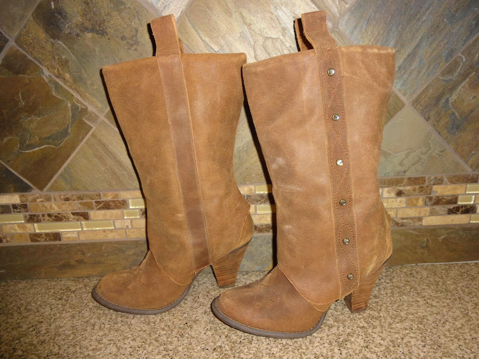 il prezzo più basso donna Naughty Naughty Naughty Monkey Sz 8 Marrone Leather stivali Cowboy 3.5  Heels  più preferenziale