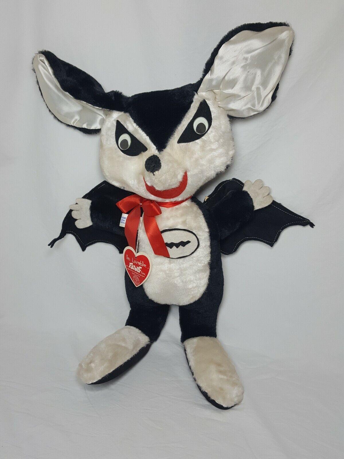 Winged Bat Fable Toys Co. Plush Stuffed Animal Haloween Rare Vintage