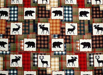 Super Snuggle Black Bears Deer Elk On Plaid Patches Flannel Fabric 1 Yd 42x36 400155982532 Ebay