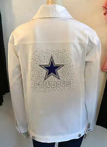 NFL-DALLAS-COWBOYS-Womens-Premium-Blinged-White-Jean-Jacket-NWT-180-SM-3X