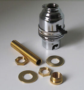 Chrome switched lamp holder Kit BC fitting c/w 10mm threaded rod adaptor an nuts 5018477332628