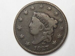Better-Date Middle-Grade 1827 US Coronet Head Large Cent Coin.  #76