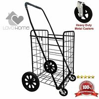 Shopping Cart Metal Caster Front Wheels Folding Grocery Laundry