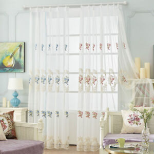 embroidered sheer tulle european lace curtains home valances mesh