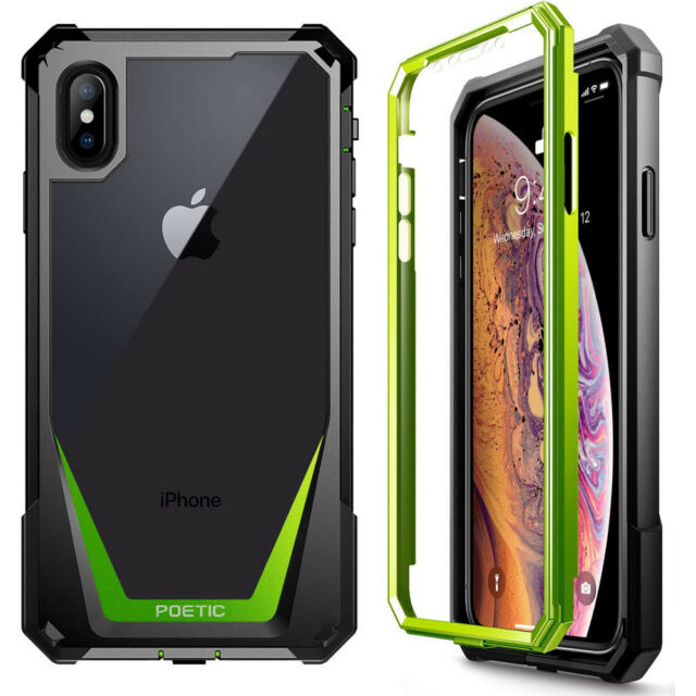 pretty nice 11043 30623 Apple iPhone XS Max Case Poetic Hybrid Shockproof Clear Back TPU Bumper  Green