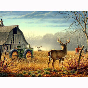 Full Drill Farm Deers 5D DIY Diamond Painting Embroidery Home Wall Decor 30x40cm