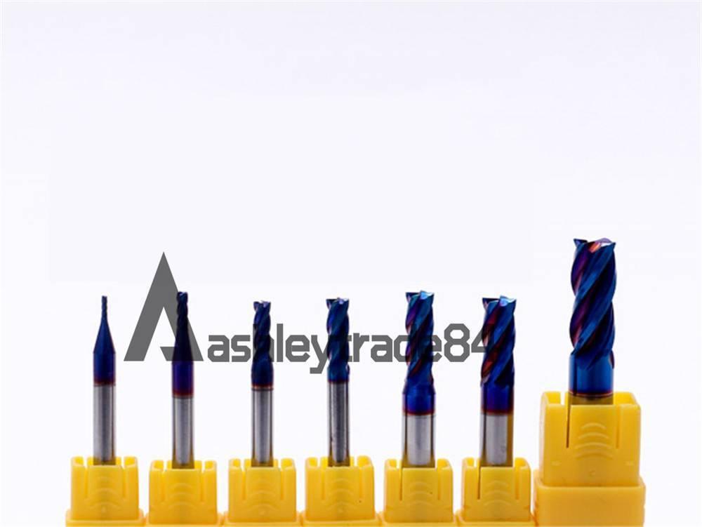 HRC65 4 Flutes solid carbide end mill dia 1 1.5 2 2.5 3 4 5 6 8 10 12 14 20mm
