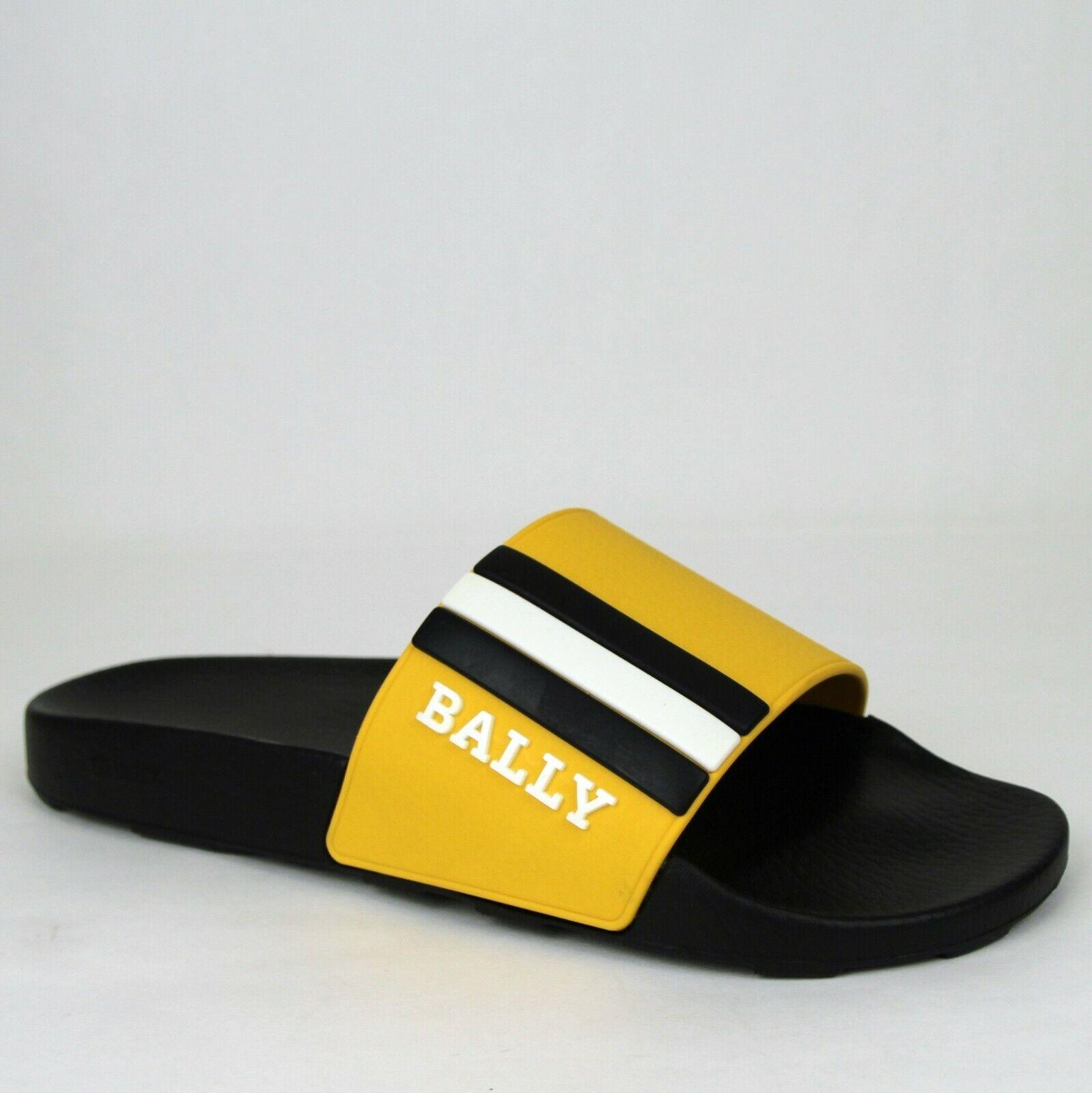 Nuevo Hombres De Goma Negro Amarillo Bally Zapatillas Con Logo 9D Saxor-39