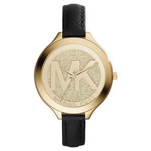 Details zu Michael Kors Uhr MK2392 LOGO RUNWAY Damenuhr Gold Leder Schwarz Armbanduhr