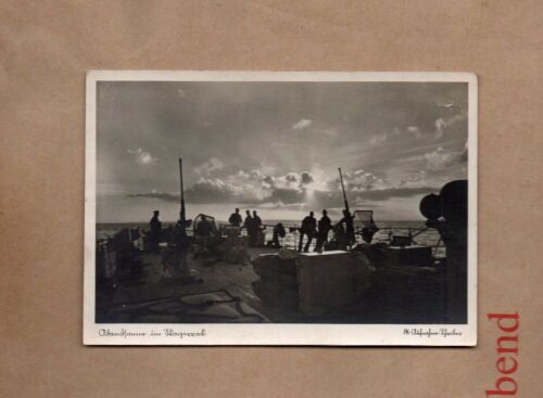 WW2 German Naval postcard on deck of ship at sunrise real photo . XC1