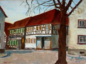 Gemaelde-Bild-Kunstwerk-Fachwerkhaus-Dorfszene-sign-034-Tuerk-039-75-034-Sammlerstueck