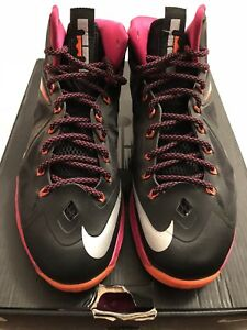 huge selection of 04be4 fe125 Image is loading Nike-Lebron-10-Floridians-Black-Metallic-Silver-Size-