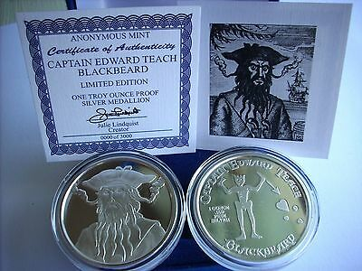 Blackbeard Captain Edward Teach 1 oz .999 Silver Antiqued Finish Round US Coin