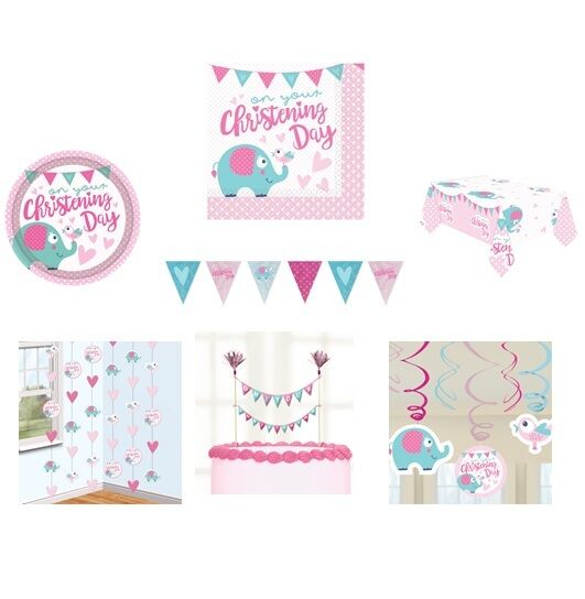 Amscan 9901946 2 M On Your Christening Day Pink String Decorations Party