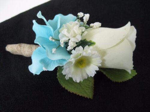 Wedding Prom Aqua Cream Rose Flower Wrist Corsage or 2pc with Boutoniere