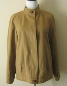 Burberry-Banded-Collar-Wool-Jacket-Womens-S-M-Camel-Color-1980s-Vintage