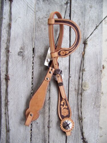 Headstall One Ear Scalloped Floral Cheek