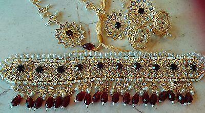 Choker Pakistani Bollywood hyderabadi Bridal Jewellery necklace Earrings set UK