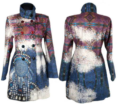 DAMEN WOLLE MANTEL TRENCH COAT 36 38 40 42 44 S M L XL ÜBERGANG WINTER STRASS