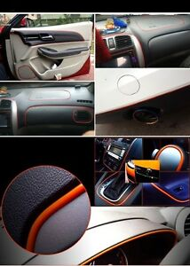 5m red car grille interior exterior decoration chrome styling molding trim strip ebay. Black Bedroom Furniture Sets. Home Design Ideas