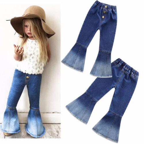 Fashion kid Infant Girls Vintage Jeans Splice Bell-bottoms Denim Pants Trouser