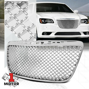 Glossy-Chrome-ABS-3D-Wave-Mesh-Bumper-Grille-Grill-for-11-14-Chrysler-300-300C
