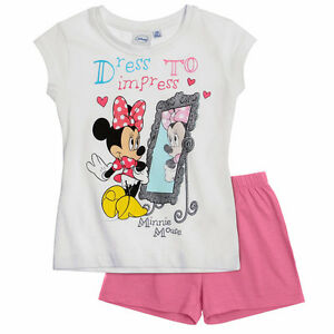 DISNEY-pyjacourt-pyjashort-pyjama-MINNIE-blanc-rose-taille-8-ans-neuf