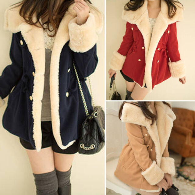 Women Winter Warm Long Double-Breasted Slim Wool Blend Jacket Coat Parka Outwear