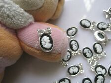 10pcs Silver Black Beauty Cameo Metal Deco Charms Nail Art MD-480