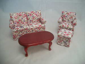 cool 12 scale dollhouse living room set | Living Room Set - Red on White Modern dollhouse furniture ...