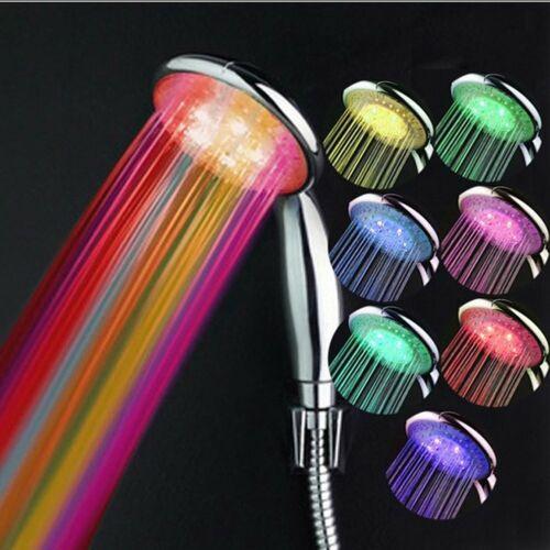 1.5m Schlauch LED Duschkopf Duschbrause Handbrause Licht Farbwechsel Brausekopf