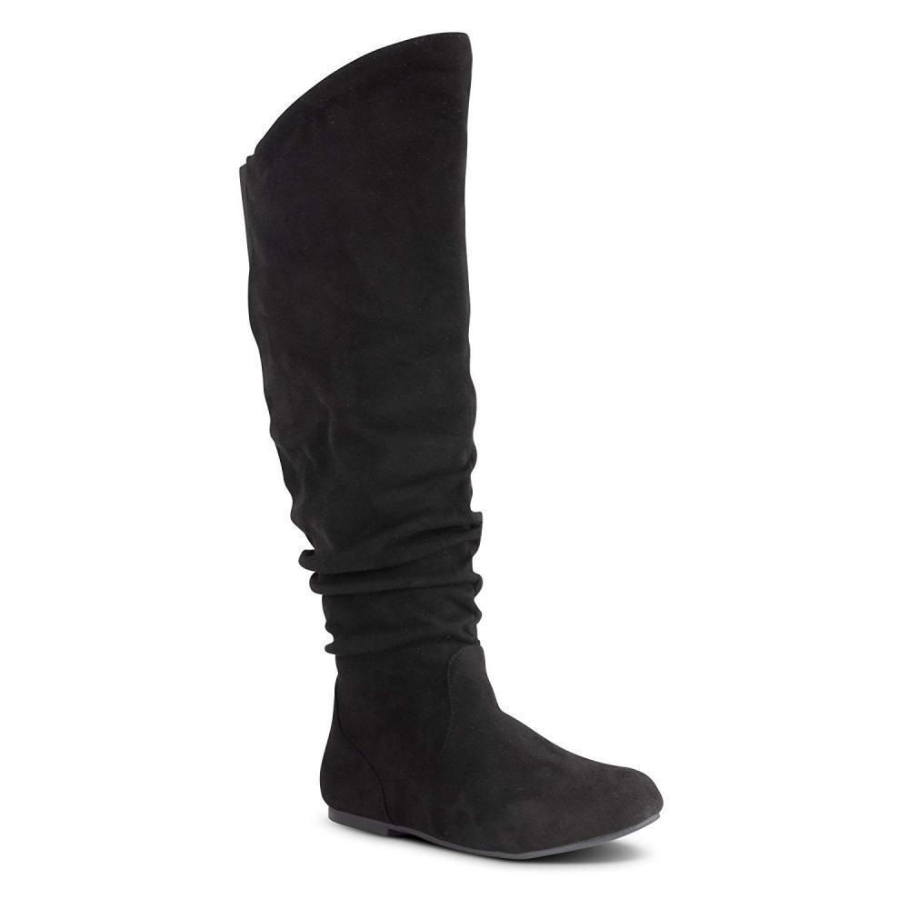Twisted Women's Shelly Wide Calf Faux Suede Knee-High Slouchy Boot