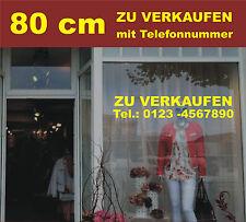 Aufkleber 80cm lang ZU VERKAUFEN mit Telefonnummer für Schaufenster Laden