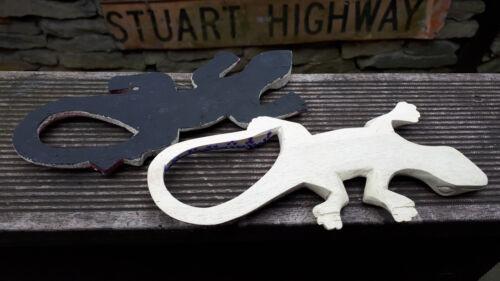 2er set holz wand gecko leguan echse mit aborigines malerei australien 20cm
