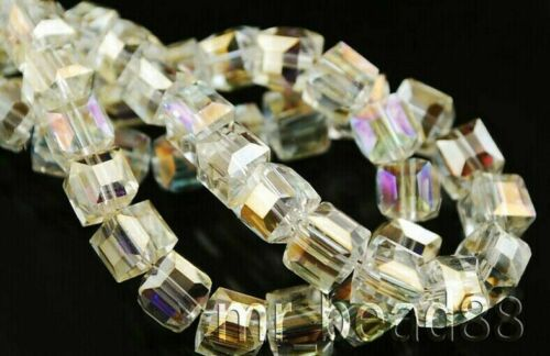 25Pcs Faceted Glass Crystal Loose Spacer Cube Beads Jewelry Findings 8x8x8mm
