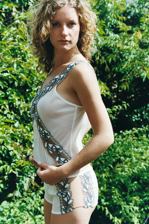 Antonia Ghazlan Ivory bluee Silk Camisole Vest