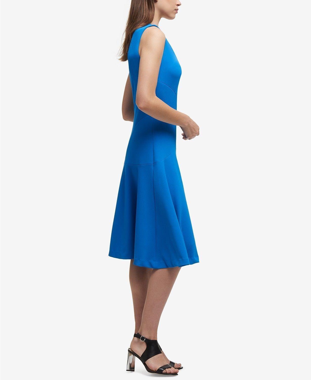 Dkny Nwt Exquisit Blau V Ausschnitt Fit&flare Fit&flare Fit&flare Gesteppt Kreppkleid, Größe 0 To 16 | Verkauf  81a579