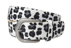 Leopardo Cinturón Blanco Negro Gris IBIZA Ella Jonte De Mujer Cuero + Sintético